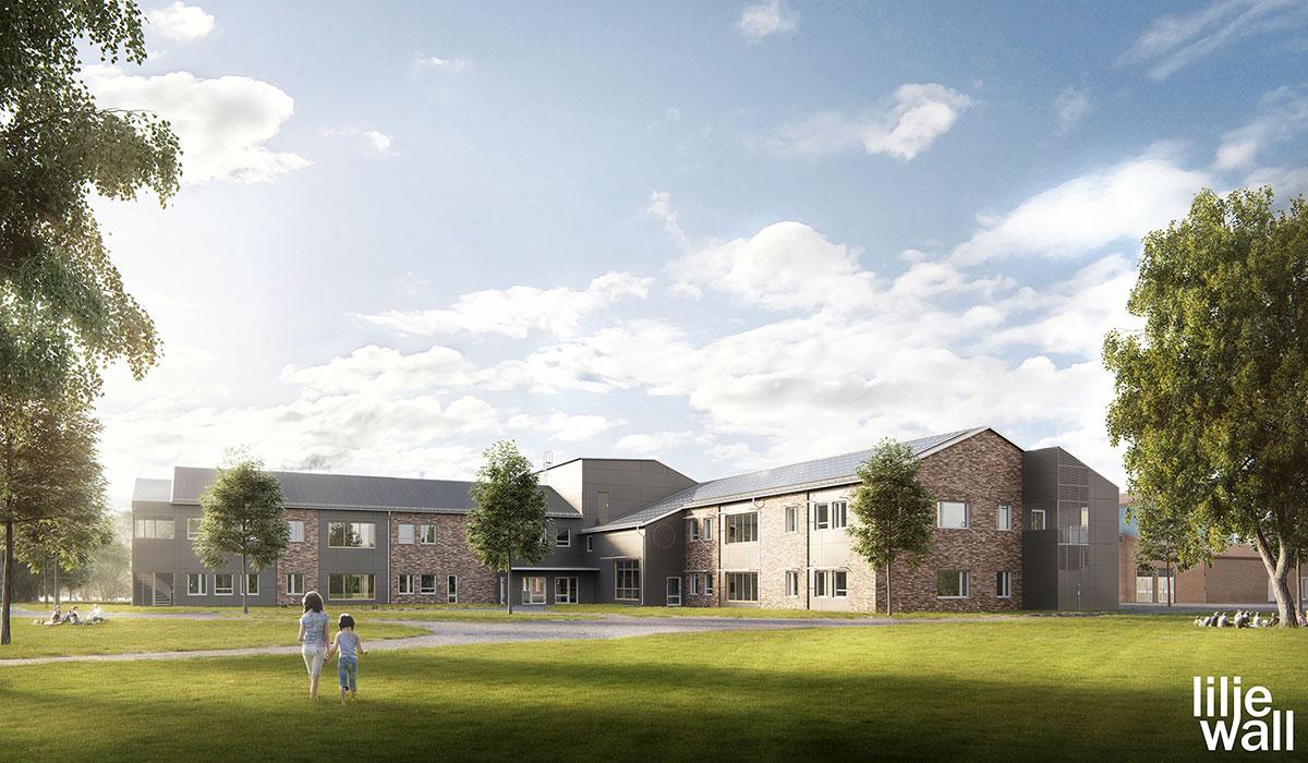 Visualisering av skolbyggnad som Bollebygd Kommun ska bygga