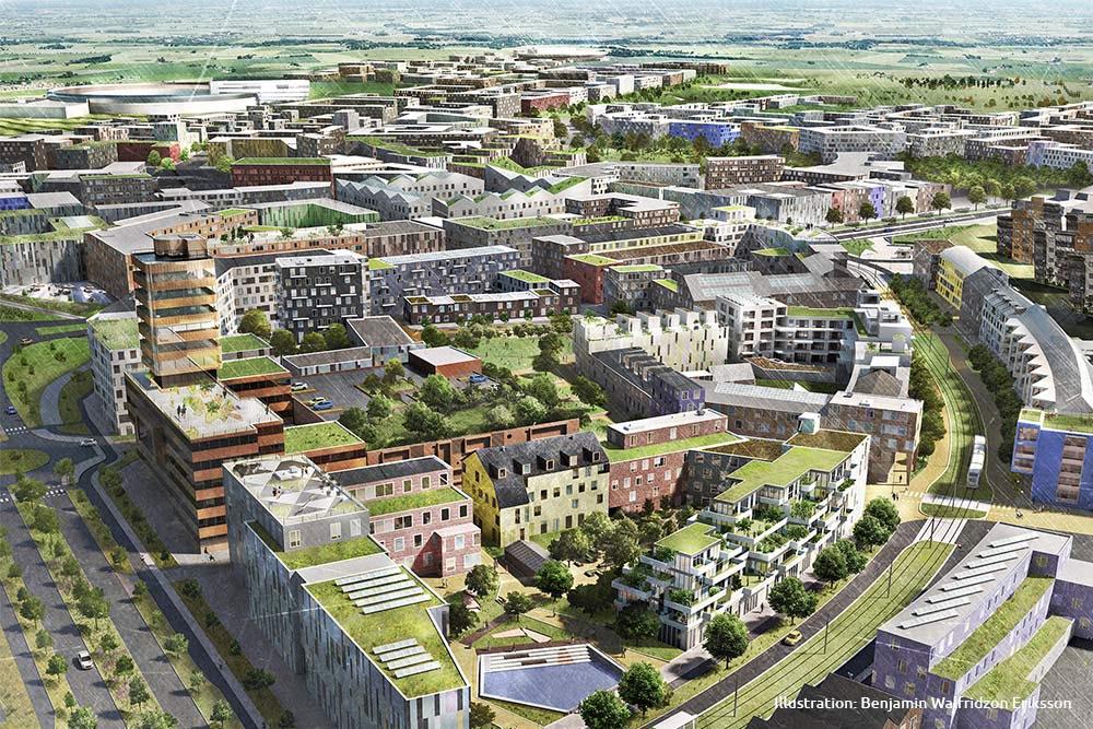Illustration över stadsdelen Brunnshög i Lund som håller på att byggas.