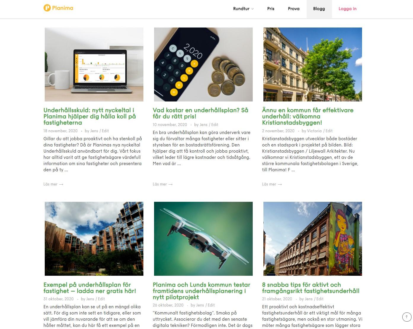 Skärmbild på Planimas bloggsida.