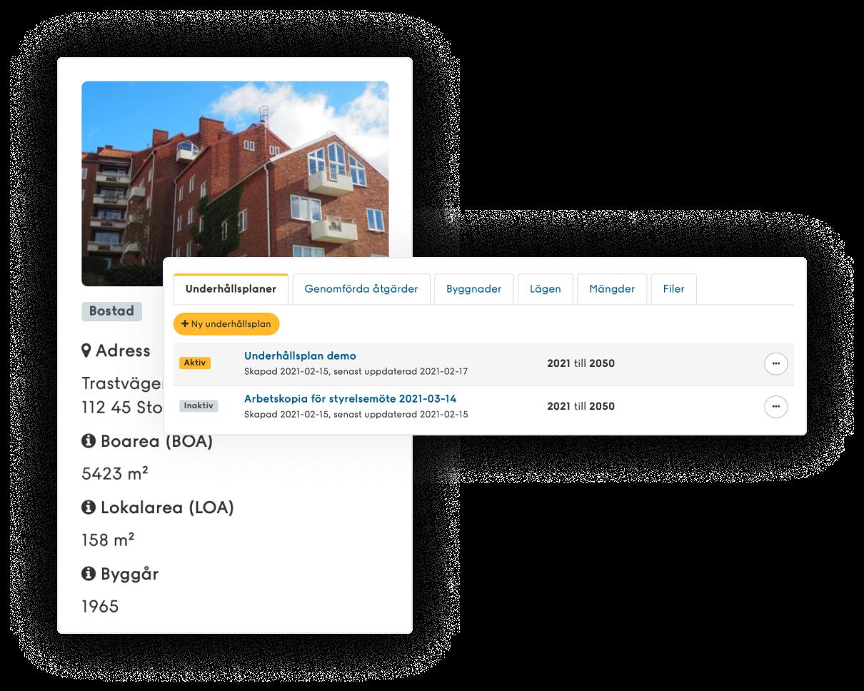Bild på fastighetsvy med två olika underhållsplaner i Planima.
