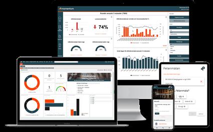 Skärmbilder på Momentum fastighetssystem på dator, laptop, surfplatta och smartphone.