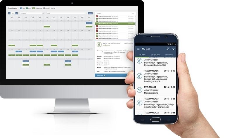Pondus Pro på datorskärm och smartphone.