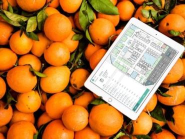 iPad med fastighetssystem på skärmen liggandes ovanpå apelsiner.